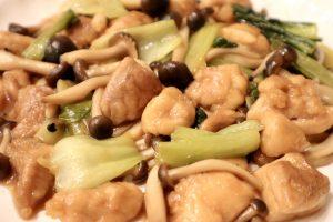 鶏肉とチンゲン菜の中華風炒め